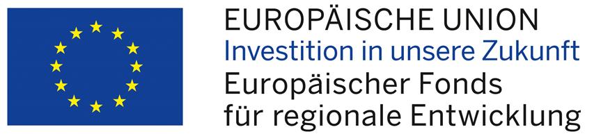 Logografik: Europäische Union Investition in unsere Zukunft Europäischer Fonds für Regionale Entwicklung